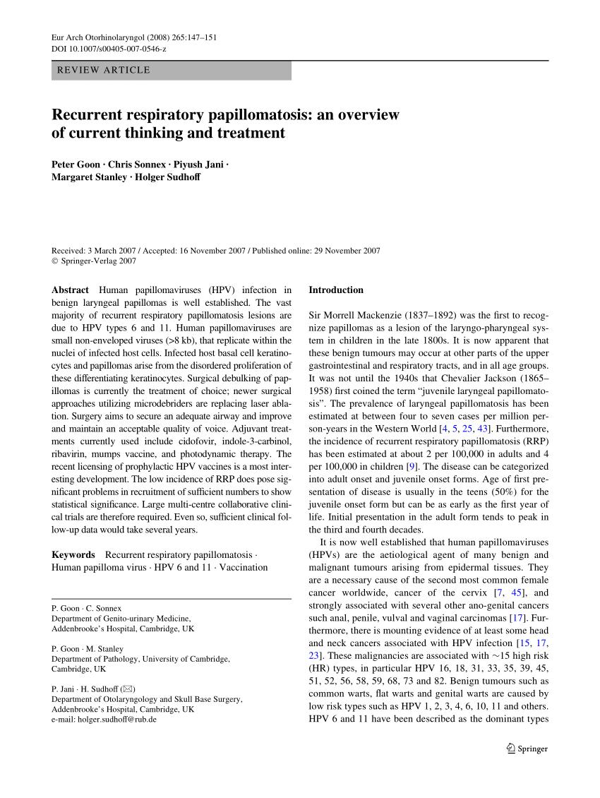légzési papillomatosis és cidofovir